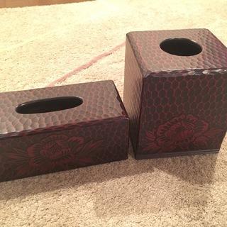 【鎌倉彫】屑箱 ゴミ箱 ティッシュケース 美品