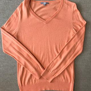 【値下げ】UNIQLO ユニクロ Vネックセーター オレンジ Lサイズ