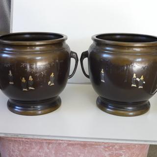 火鉢(銅製)、花瓶・ペアグラス・水盤(大理石)、唐木花台・小槌・...