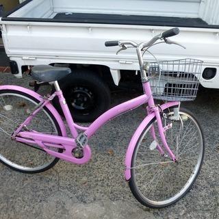 26インチ ピンクの可愛らしい自転車 中古