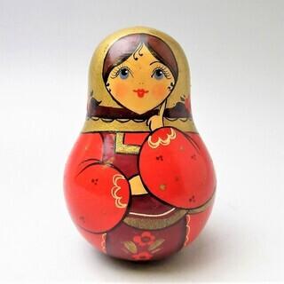 ソヴィエト民芸 古い人形 マトリョシカの起き上がり ガラガラ ヴ...