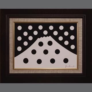 ●【雪のドット&白富士】○がんどうあつし肉筆絵画アクリルF4ブラ...