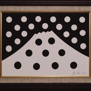 ●【雪のドット&白富士】○がんどうあつし肉筆絵画アクリルF4ブラウン額付冬富士山 - 富士吉田市