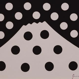 ●【雪のドット&白富士】○がんどうあつし肉筆絵画アクリルF4ブラウン額付冬富士山 - 売ります・あげます