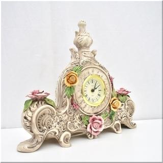 ◆美品◆イタリア◆カポディモンテ◆豪華な陶器製置時計◆可憐で繊細...
