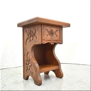 ◆スパニッシュカントリー◆木彫刻◆ナイトテーブル 花台 サ…