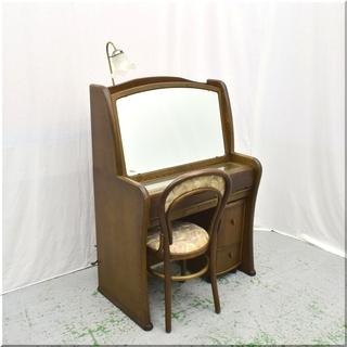 ◆楢材◆照明付 一面鏡鏡台◆ライティングドレッサー&コスメワゴン...