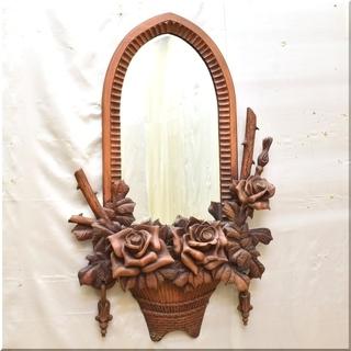 ◆アンティーク◆薔薇彫刻◆バラ木彫り◆ローズ◆壁掛けインテリア鏡...