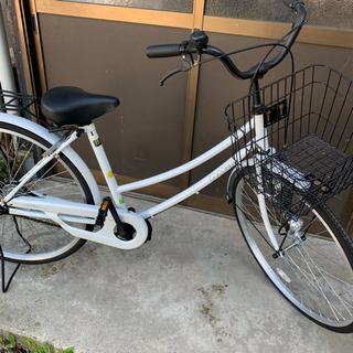 美品!真っ白い自転車  カゴ付き  ほぼ未使用  26インチ