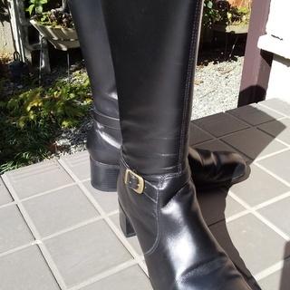 本革ブラックロングブ-ツ24.5cm