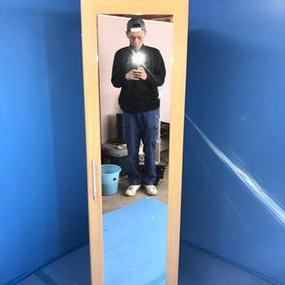 ♠️木製 全身鏡付き衣類収納棚♠️