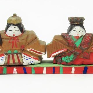 古い奈良人形 豆人形 古い小さな木彫り 内裏雛/お雛様 3.9c...