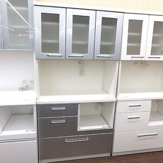 札幌 引き取り セパレート食器棚 キッチンボード 白×シルバー ...