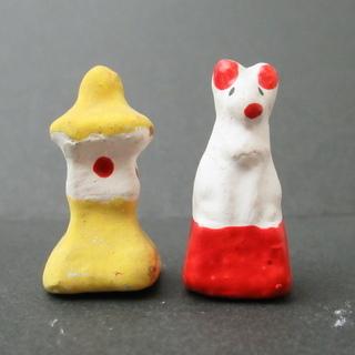 古い小さな土人形 富山 福徳人形 狐・石灯籠 2点 まとめて 民...