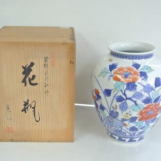 有田焼の花瓶 花器 花鳥牡丹 虎仏作 華道