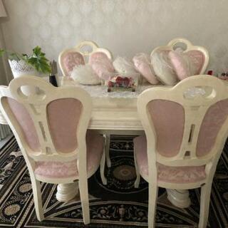 ダイニングテーブルセット  イタリア家具  猫脚 アンティーク ...