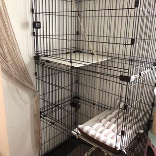 猫用三段ケージとトイレです。