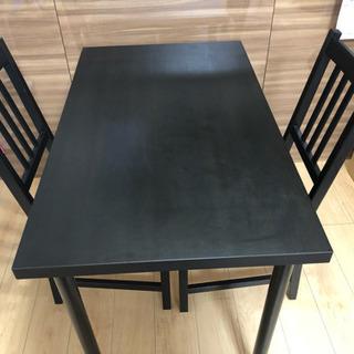 IKEA ダイニングテーブルとイス二脚のセット+希望の方にパイプ...