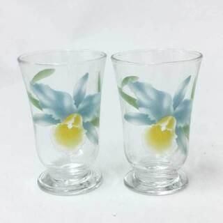 【新品同様】【美品】香蘭社 ペアグラス 花柄