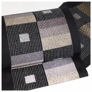 美品 極上 高級呉服 黒 変わり市松 六通 正絹 袋帯 リサイクル品
