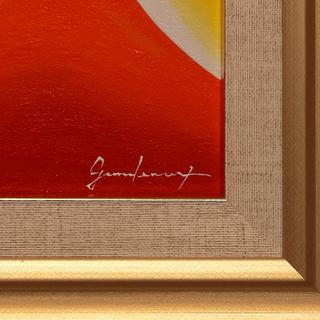 私が描いた小さい油絵です。●『金の太陽の日の出赤富士』●がんどうあつし肉筆直筆絵画額縁付金運風水 − 山梨県