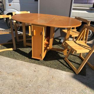 折りたたみ式ダイニングセット テーブル 椅子4脚