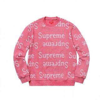 正規品 Supreme Jacquard ロゴスウェットシャツ ピンク