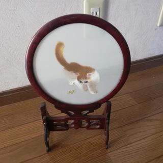 可愛い猫ちゃんの両面刺繍