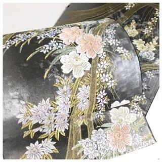 美品 極上 刺繍 花模様 六通 高級呉服 黒 正絹 袋帯 リサ...