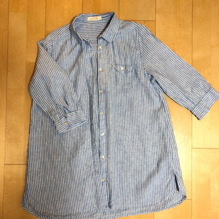 リネン100%ストライプシャツ