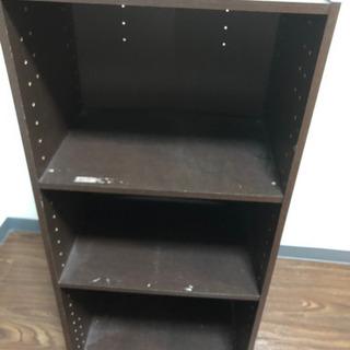 ニトリ 茶色の三段のカラーボックスの画像