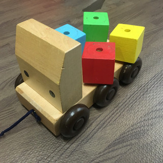 【中古】木の車のおもちゃ