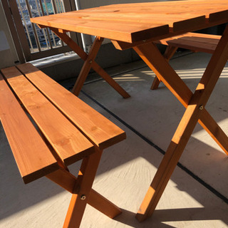ベランダ•ガーデンテーブルセット パラソル用ホール付き