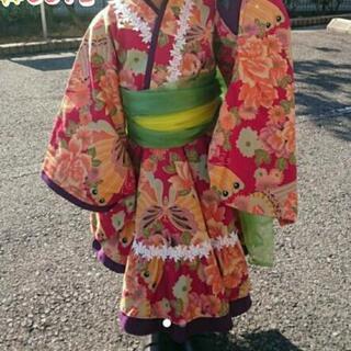 キッズ☆ 七五三 女の子 着物ドレス 帯2枚つき ♪