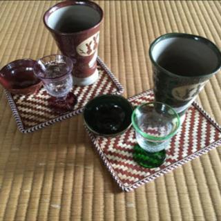 美濃焼き&上海グラスセット (野うさぎ ペア今宵の友)