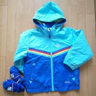 男の子 雪遊び スキーウェア サイズ 120 ブルー系◆中古 手袋 付