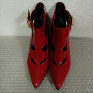 赤い靴 ブーツ ハーフブーツ