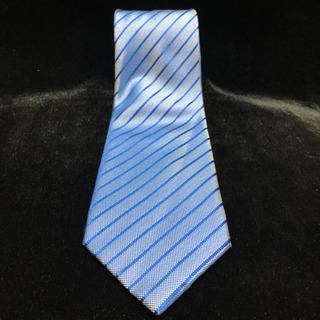 ネクタイ ブルー ストライプ 光沢あり