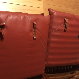 BC工房 安楽座布団椅子 ソファ 2人がけ チーク無垢 革 - 売ります・あげます
