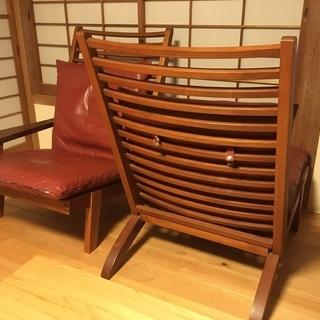 BC工房 安楽座布団椅子 ソファ 2人がけ チーク無垢材 革