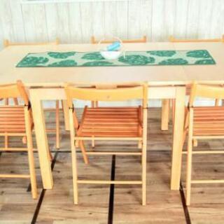 イケア BJURSTA22349伸縮式テーブルとイス6脚