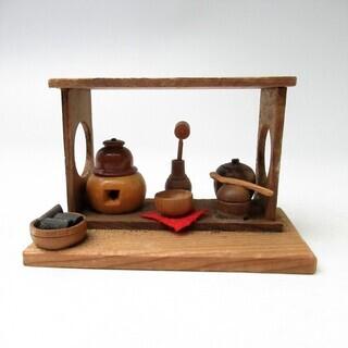 古い 小さなお茶道具 茶棚 民芸品【郷土玩具/ミニチュア95/j】