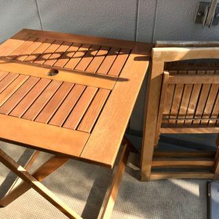 折りたたみテーブル+椅子2点 セット