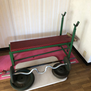 ペンチプレス台、バー、重り80kg(アームカールバーも付けます)