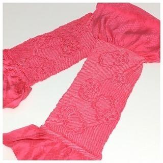 極上 未使用 美品 特選 絞り 帯揚げ(ピンク)花模様 リサイ...