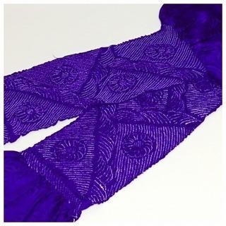 極上 美品 未使用 特選 絞り 帯揚げ(紫色)リサイクル 和装小物