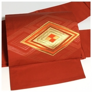 上質 正絹 作り帯 赤色 菱紋 お太鼓柄 名古屋帯 中古品