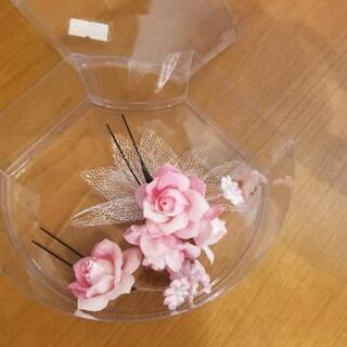可愛いかんざし、髪飾り ピンク薔薇