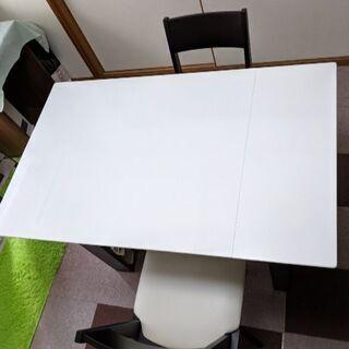 伸縮ダイニングテーブルセット ホワイト&ダークブラウン