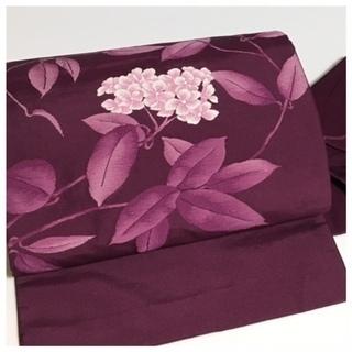 御太鼓 花模様 特選 正絹 九寸名古屋帯(紫)長さ352センチ
